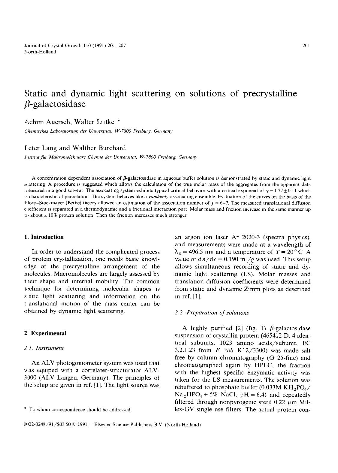 Book cover Static and dynamic light scattering on solutions of precrystalline β-galactosidase