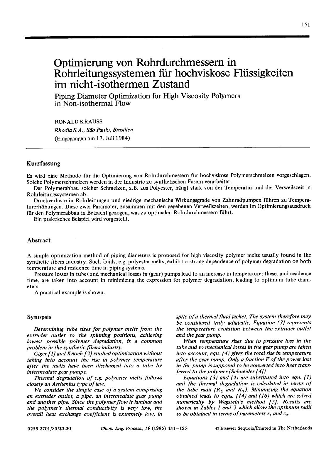 Обкладинка книги Piping diameter optimization for high viscosity polymers in non-isothermal flow