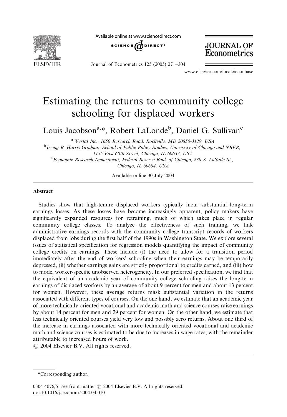 Book cover Estimating the returns to community college schooling for displaced workers