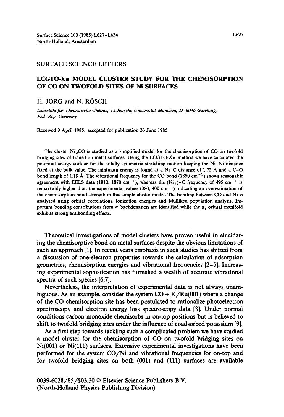 Book cover LCGTO-Xα model cluster study for the chemisorption of CO on twofold sites of Ni surfaces