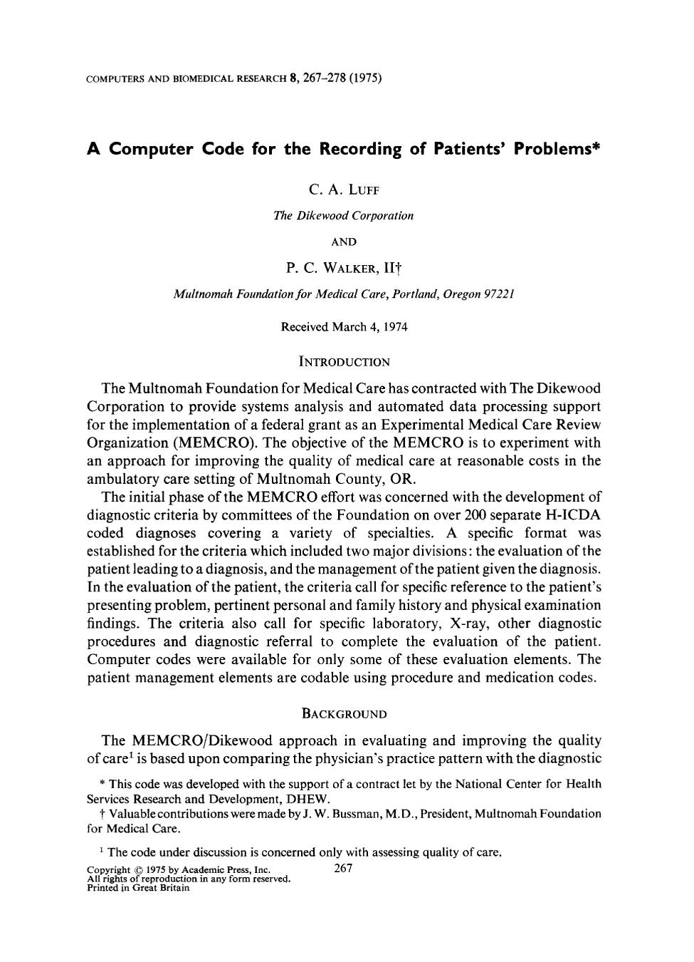 Book cover A computer code for the recording of patients' problems
