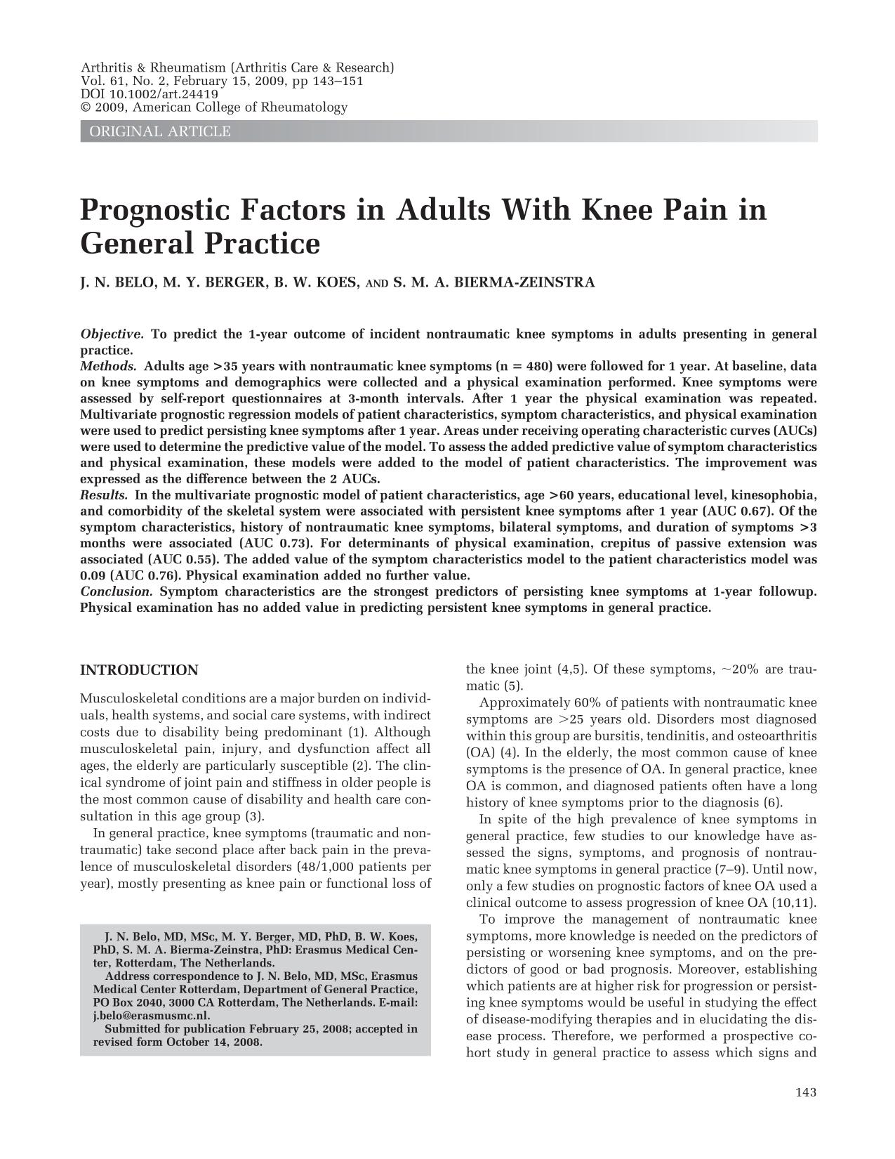 Couverture Prognostic factors in adults with knee pain in general practice