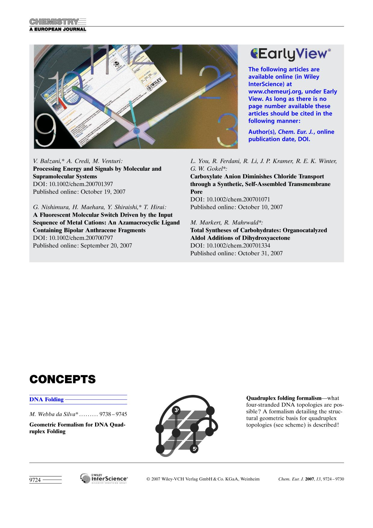 Book cover Graphical Abstract: Chem. Eur. J. 35/2007
