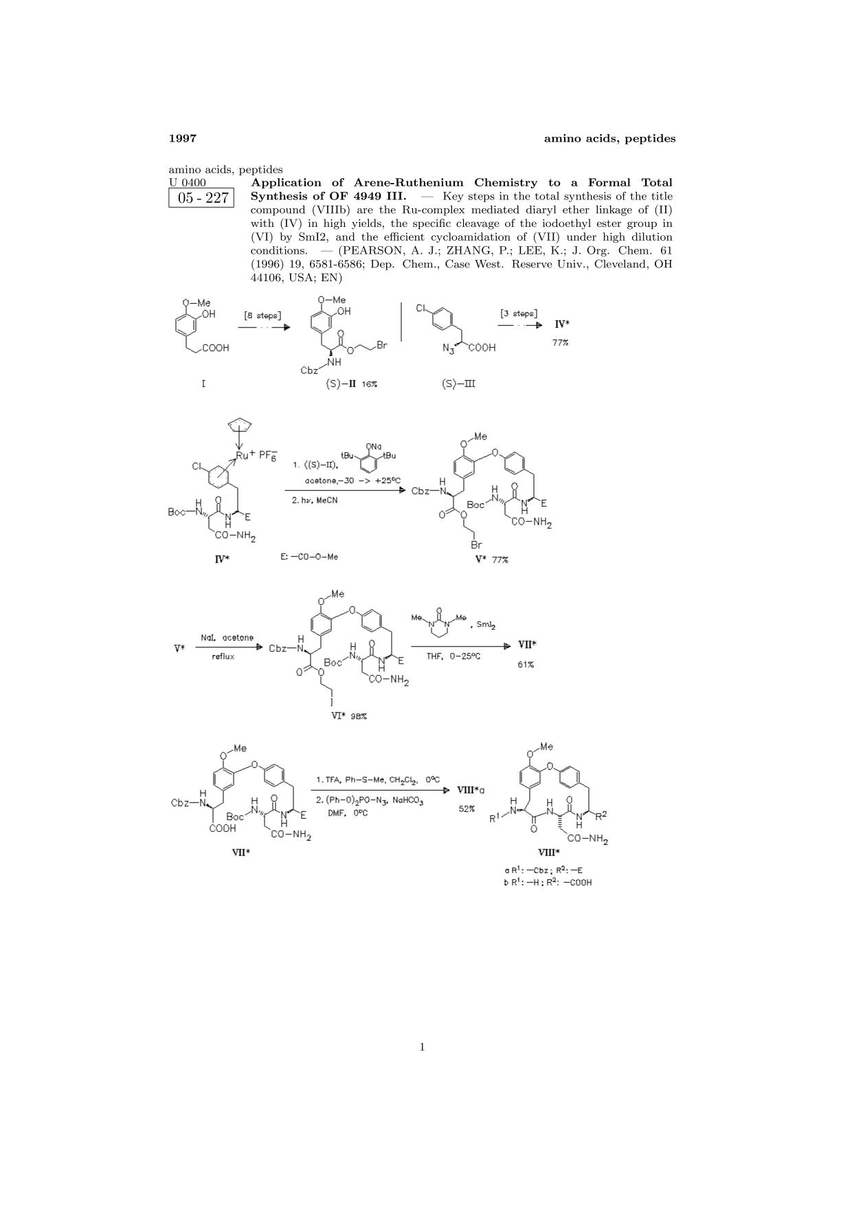 Kover buku ChemInform Abstract: Application of Arene-Ruthenium Chemistry to a Formal Total Synthesis of OF 4949 III.<span></span>