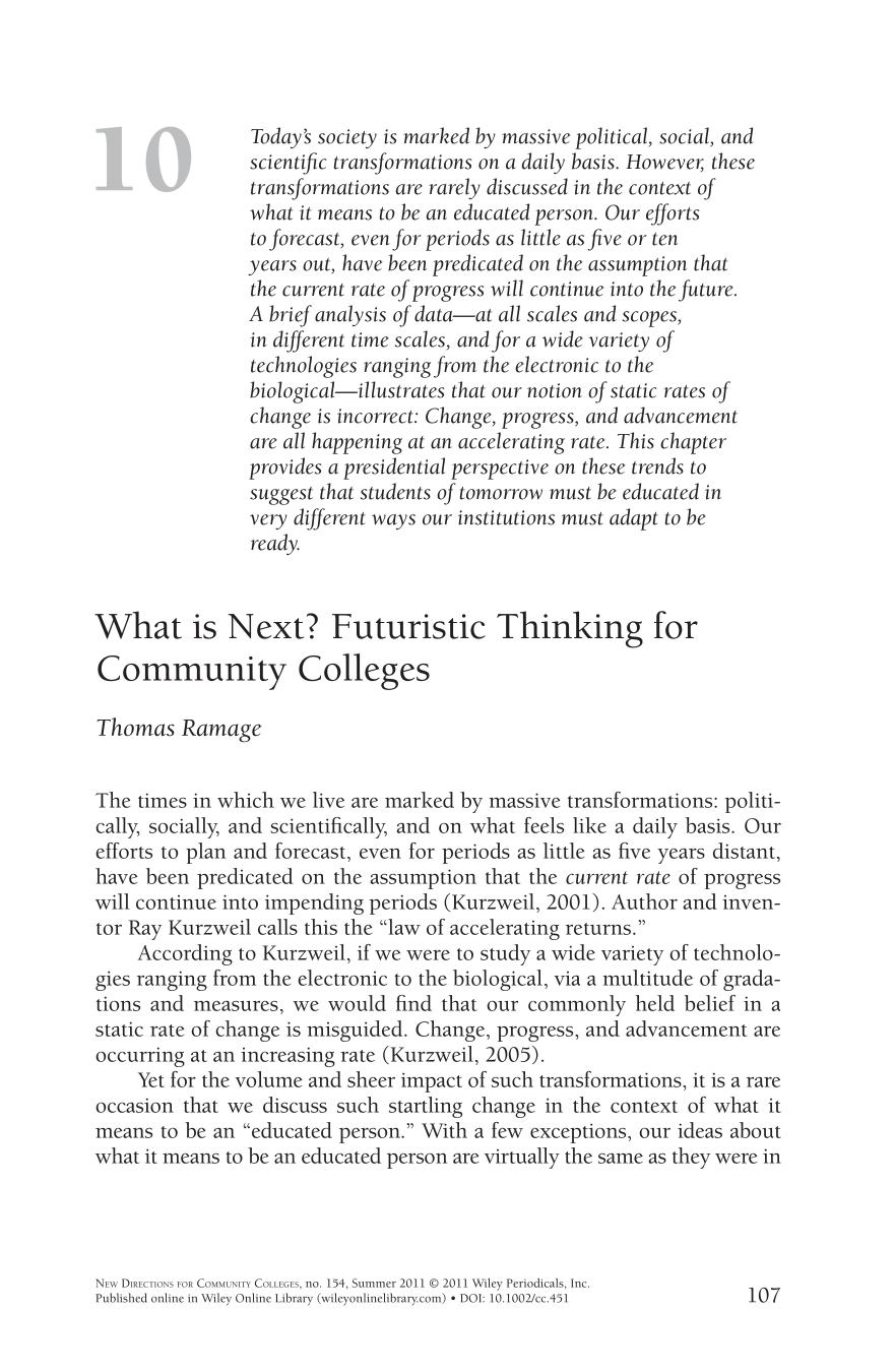 Book cover What is next? Futuristic thinking for community colleges
