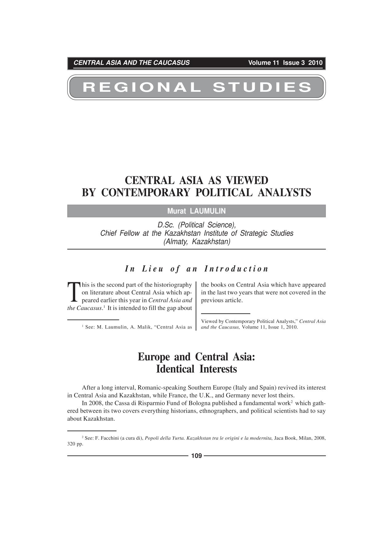 Book cover CENTRAL ASIA AS VIEWED BY CONTEMPORARY POLITICAL ANALYSTS