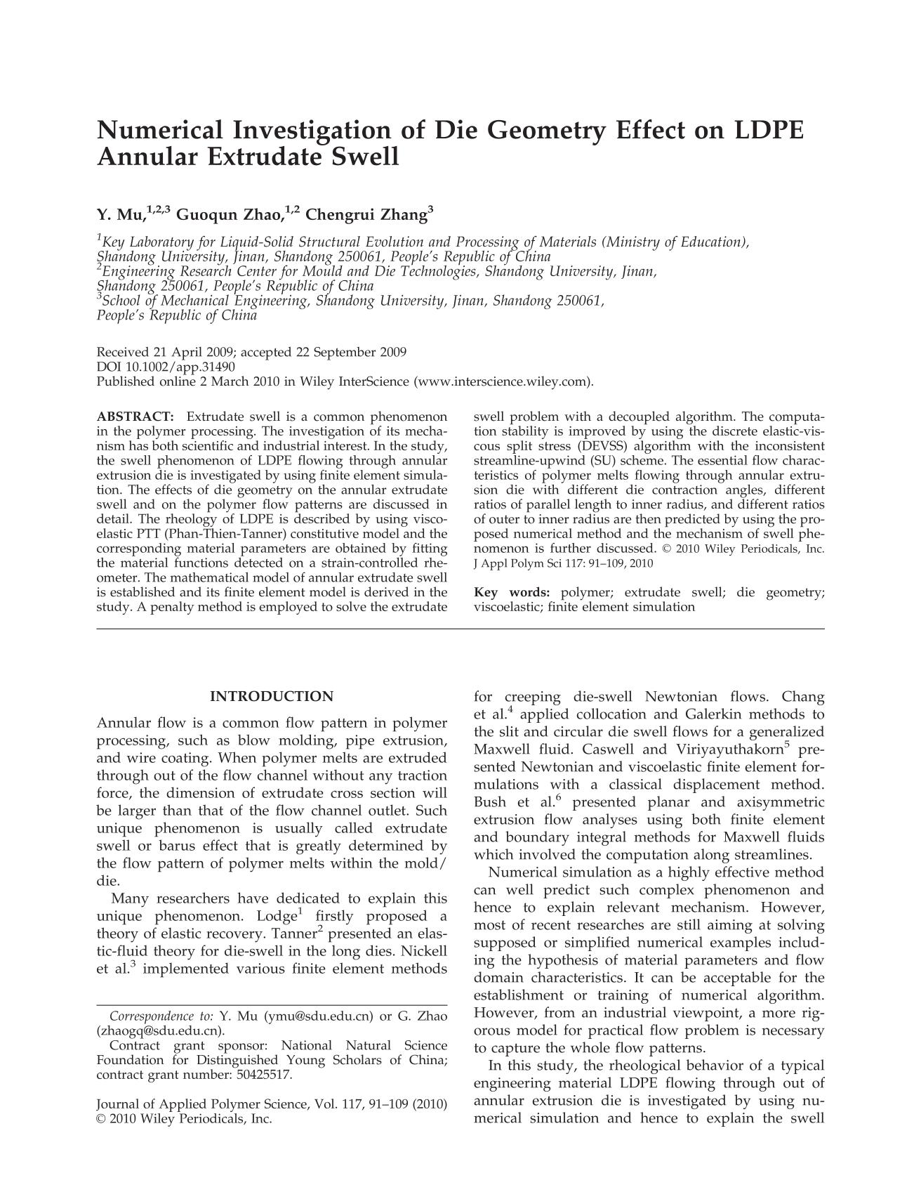 Book cover Numerical investigation of die geometry effect on LDPE annular extrudate swell