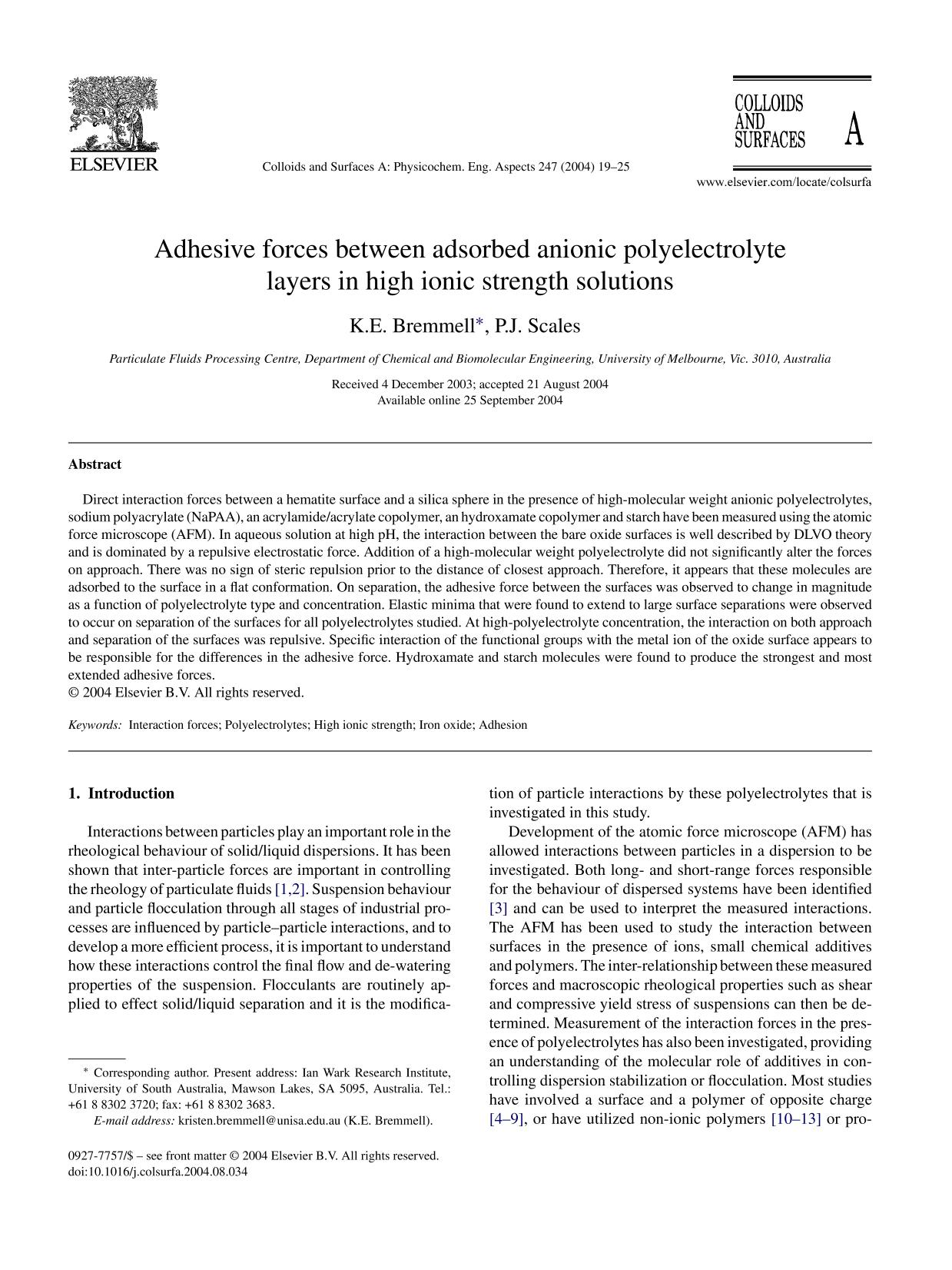 Обкладинка книги Adhesive forces between adsorbed anionic polyelectrolyte layers in high ionic strength solutions