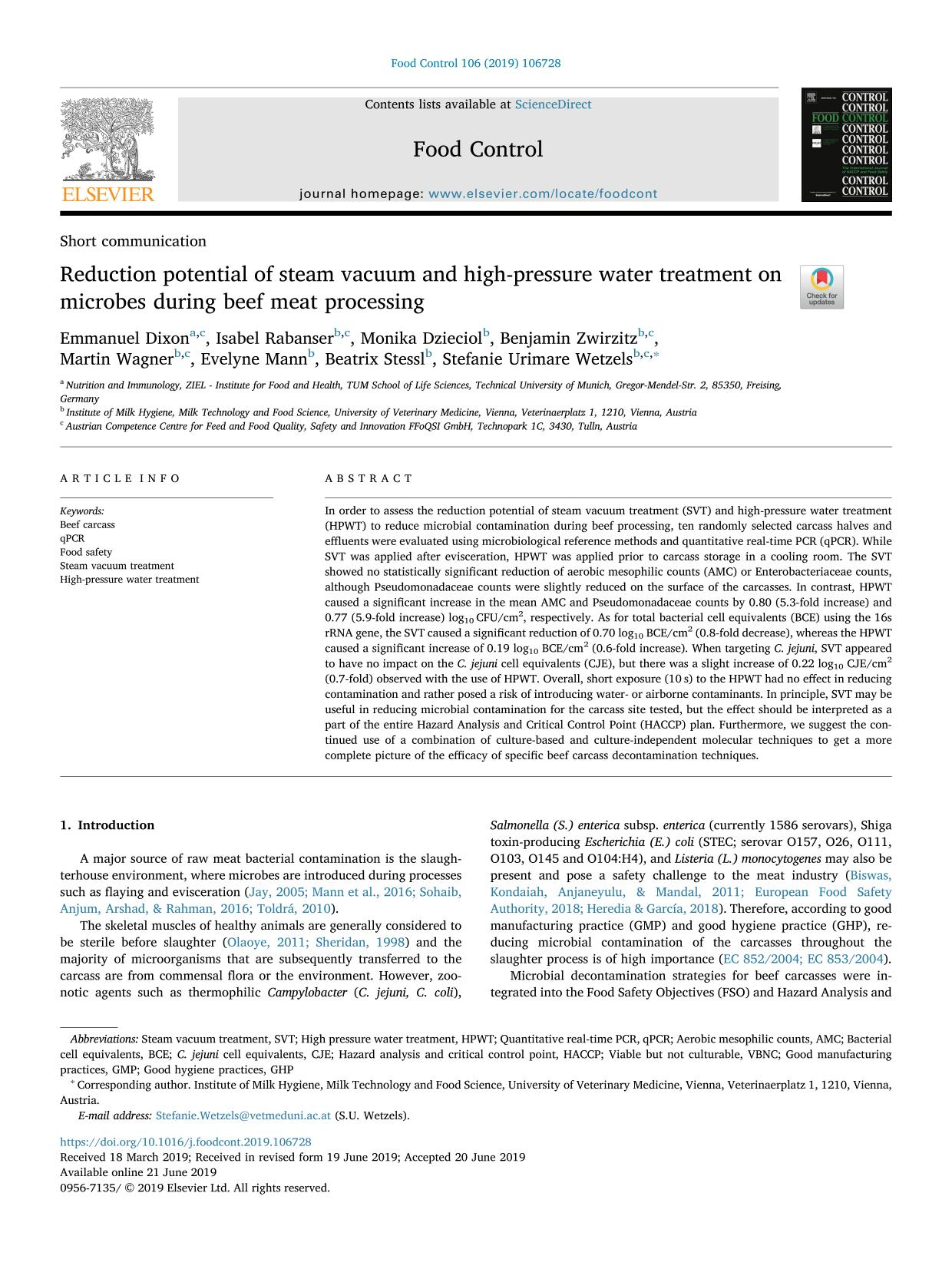 Book cover Reduction potential of steam vacuum and high-pressure water treatment on microbes during beef meat processing