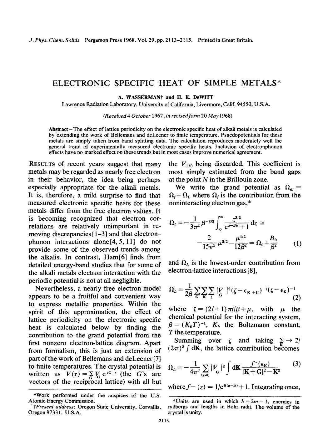 Book cover Electronic specific heat of simple metals