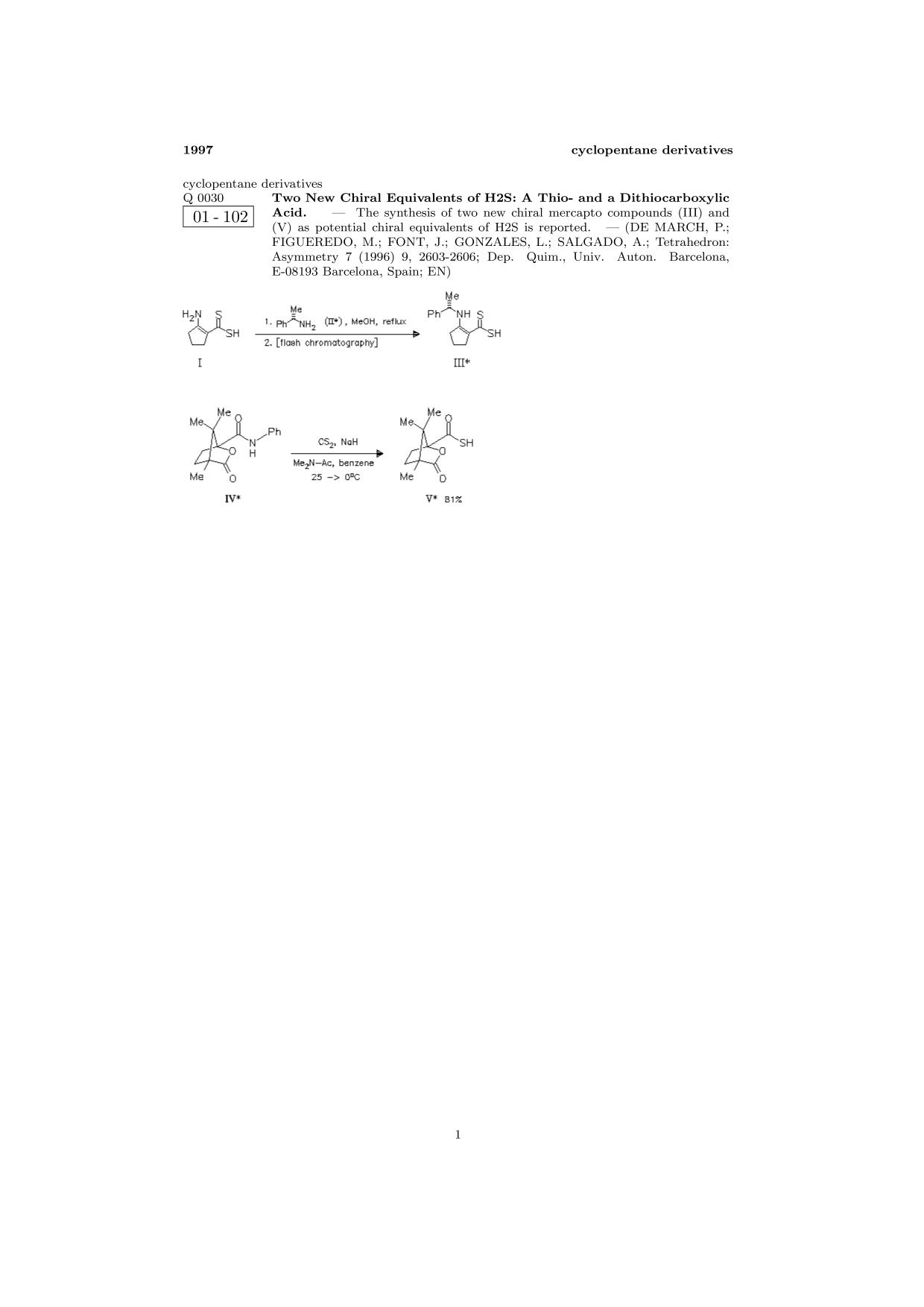 書籍の表紙 ChemInform Abstract: Two New Chiral Equivalents of H2S: A Thio- and a Dithiocarboxylic Acid.<span></span>