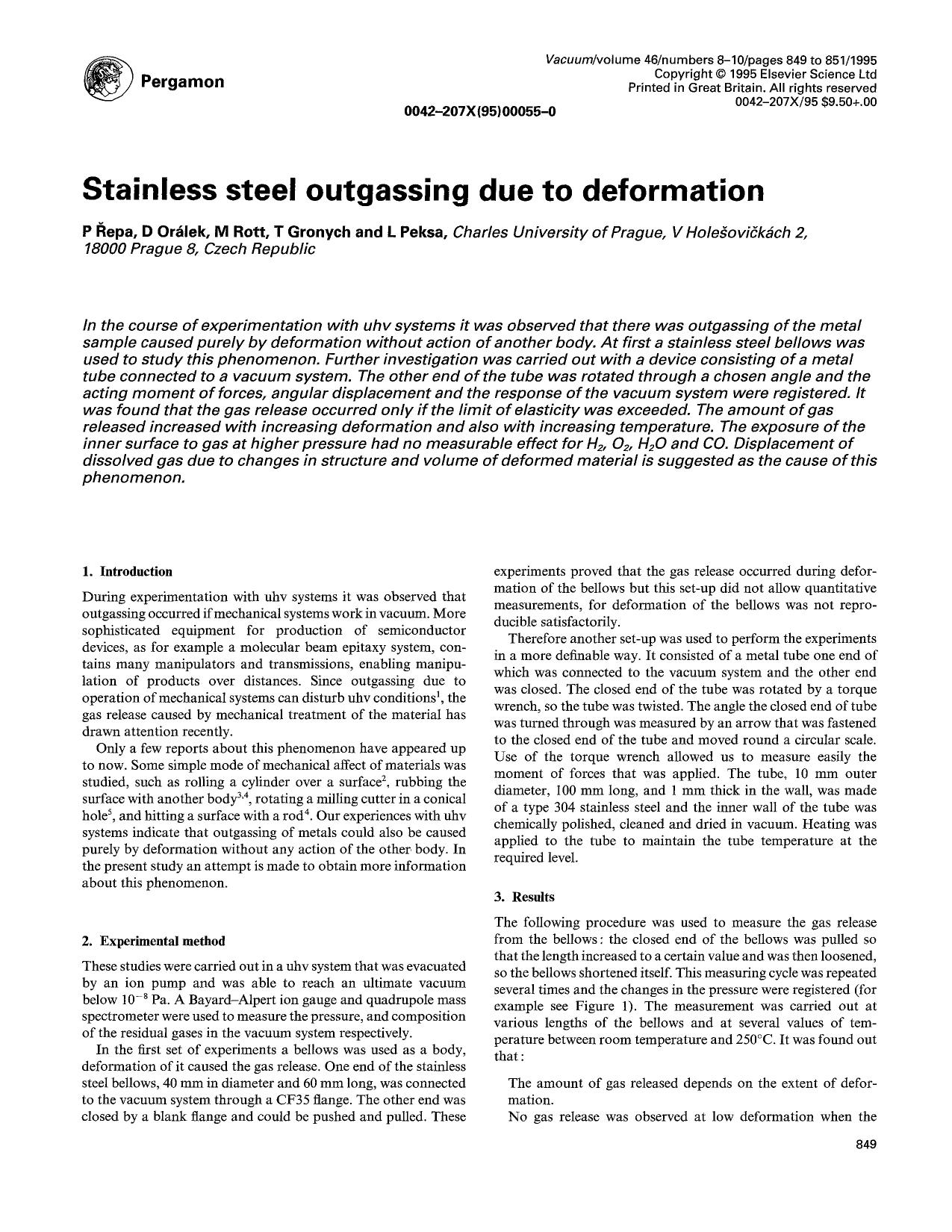 Book cover Stainless steel outgassing due to deformation