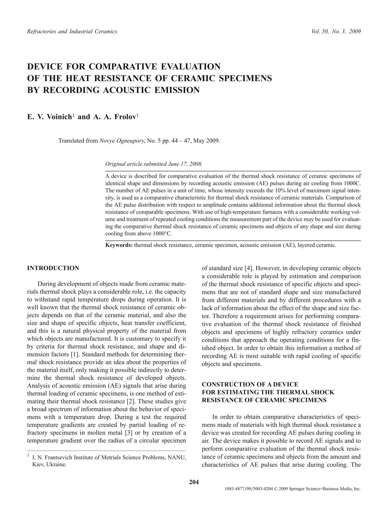 Book cover Device for comparative evaluation of the heat resistance of ceramic specimens by recording acoustic emission
