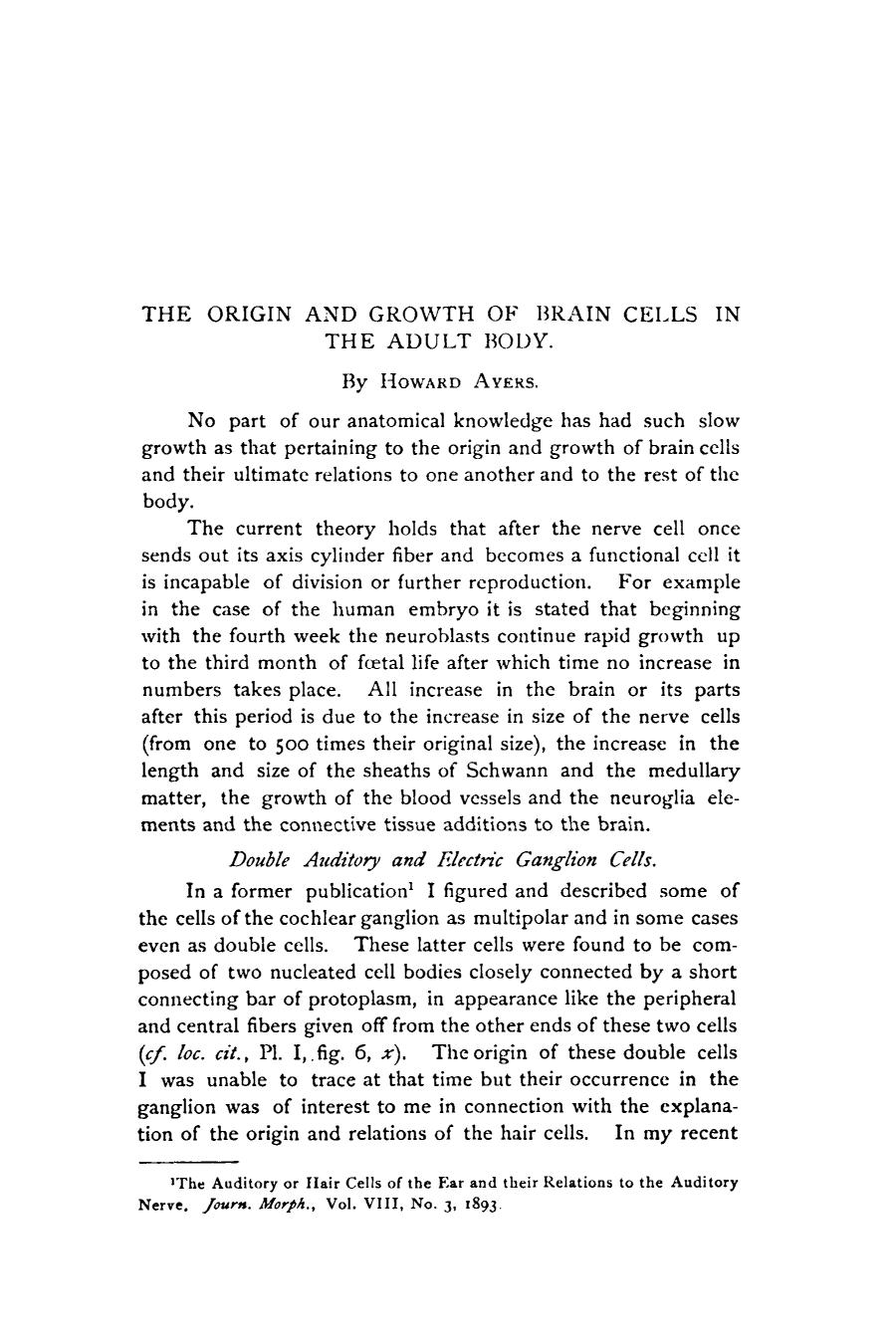 Book cover The origin and growth of brain cells in the adult body