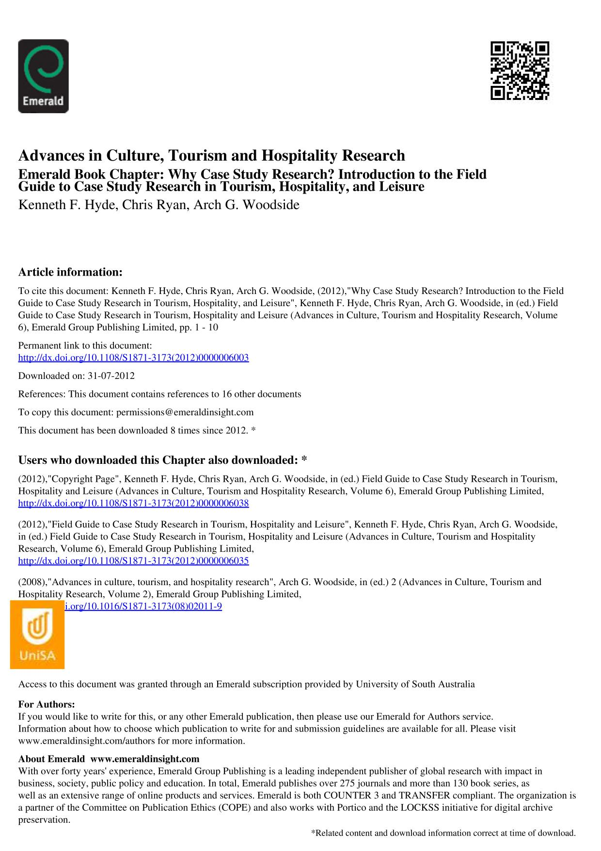 Book cover [Advances in Culture, Tourism and Hospitality Research] Field Guide to Case Study Research in Tourism, Hospitality and Leisure Volume 6 || Why Case Study Research? Introduction to the Field Guide to Case Study Research in Tourism, Hospitality, and Leisure