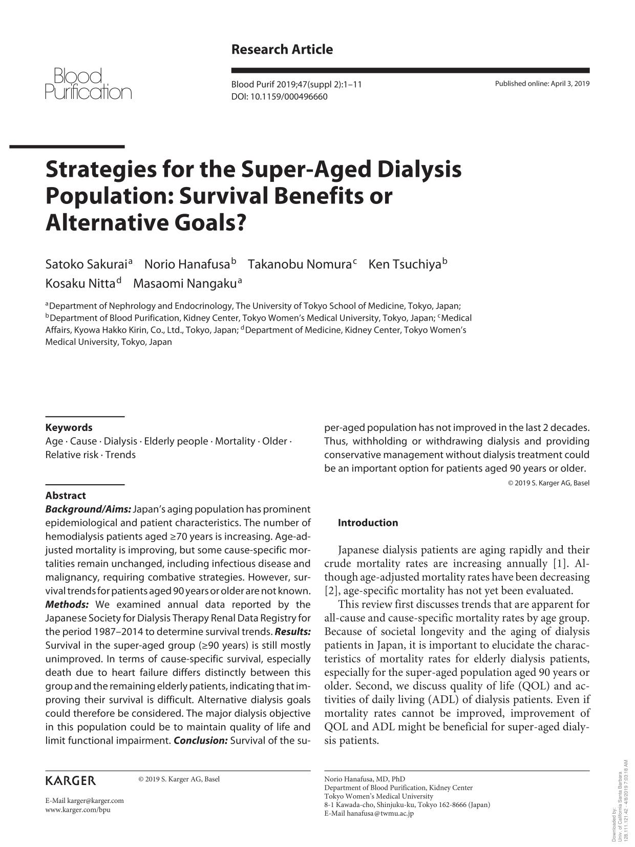 Book cover Strategies for the Super-Aged Dialysis Population: Survival Benefits or Alternative Goals?