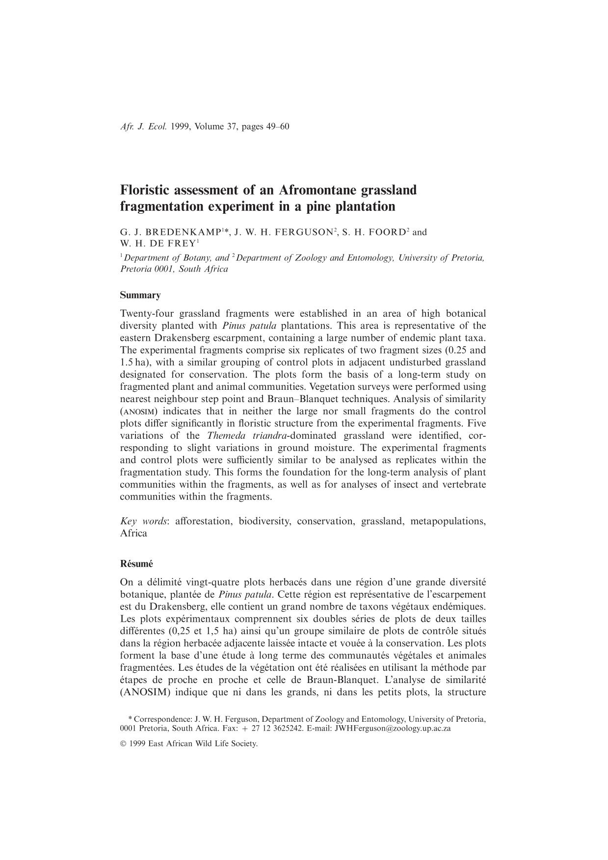 Book cover Floristic assessment of an Afromontane grassland fragmentation experiment in a pine plantation