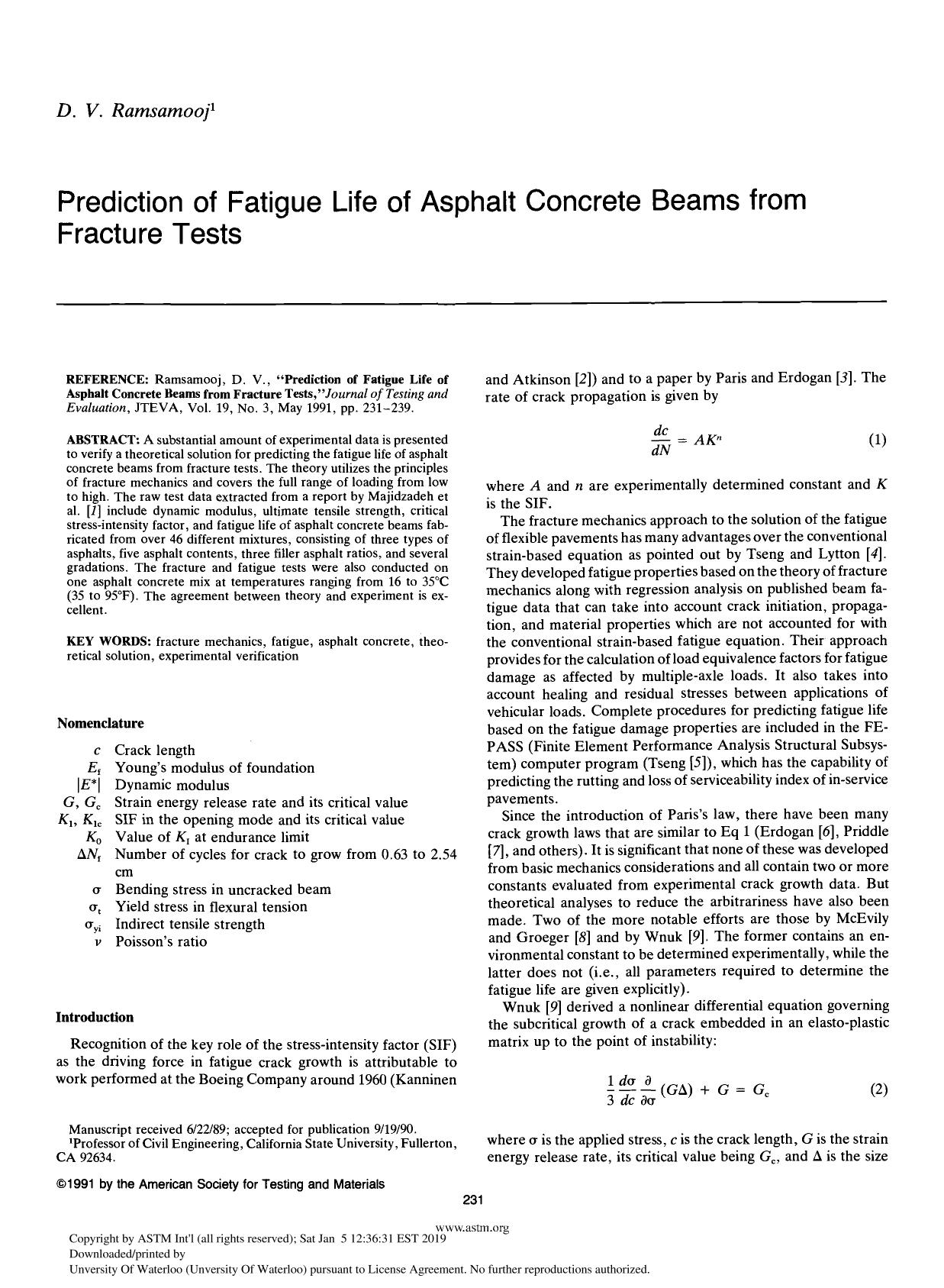 Book cover Prediction of Fatigue Life of Asphalt Concrete Beams from Fracture Tests