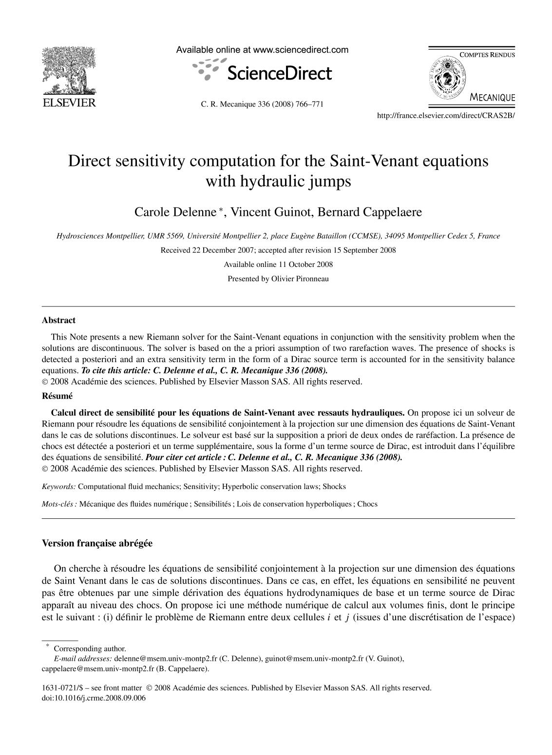 capa de livro Direct sensitivity computation for the Saint-Venant equations with hydraulic jumps