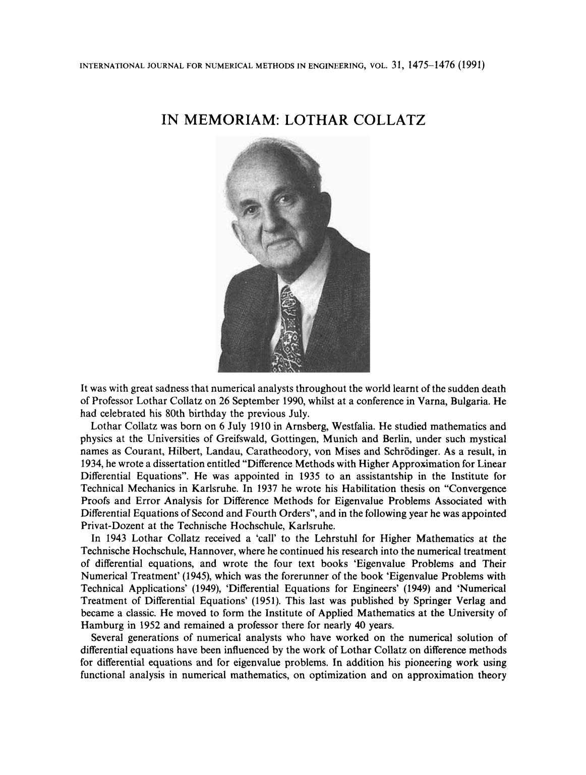 Book cover In memoriam: Lothar Collatz