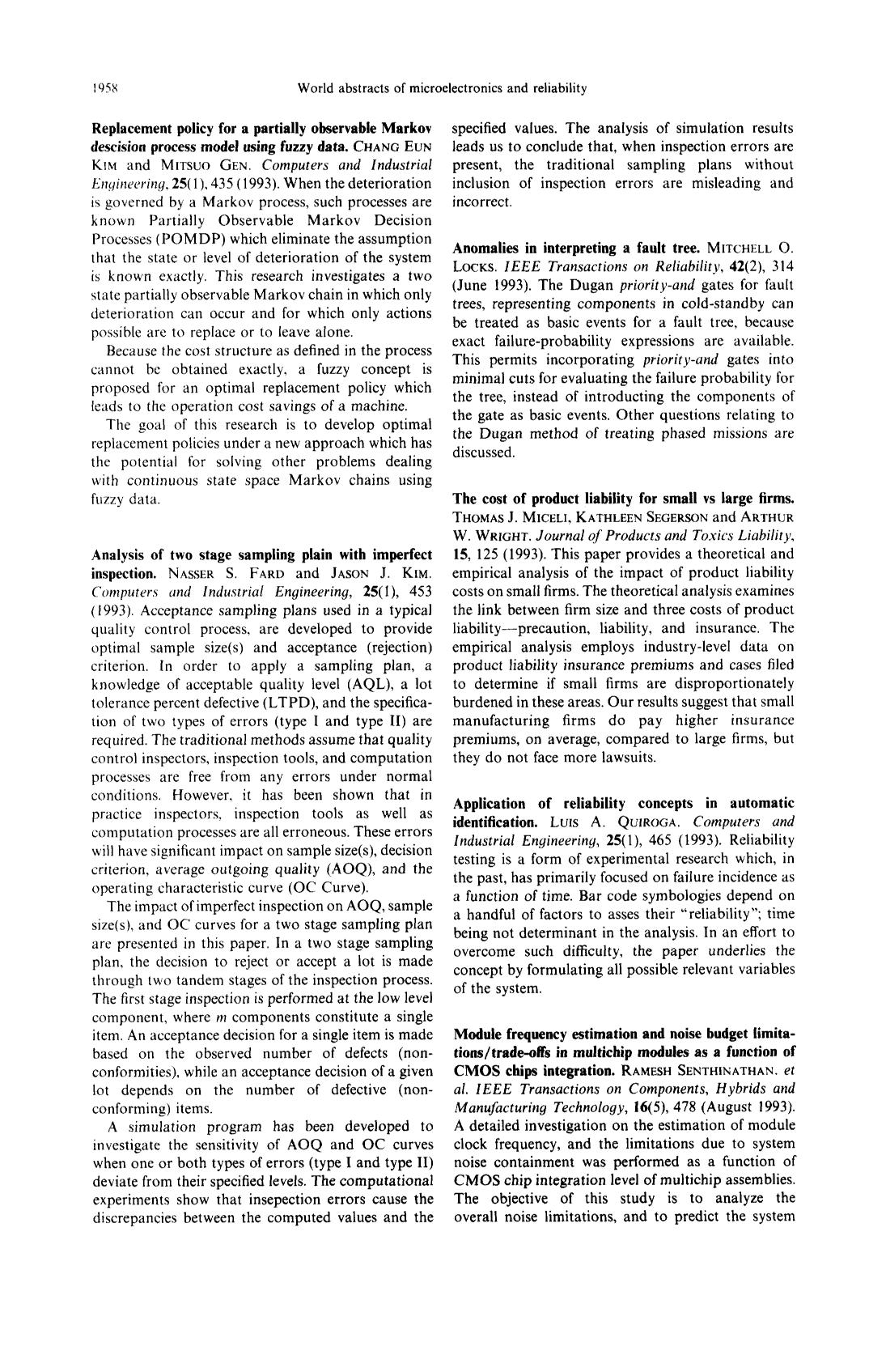 Buchcover Analysis of two stage sampling plain with imperfect inspection : Nasser S. Fard and Jason J. Kim. Computers and Industrial Engineering, 25(1), 453 (1993)