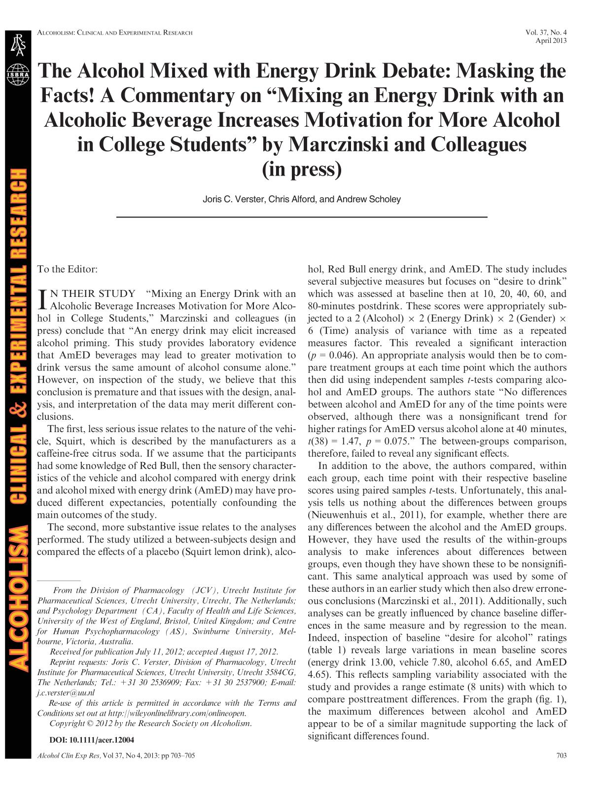 "Book cover The Alcohol Mixed with Energy Drink Debate: Masking the Facts! A Commentary on ""Mixing an Energy Drink with an Alcoholic Beverage Increases Motivation for More Alcohol in College Students"" by Marczinski and Colleagues (in press)"