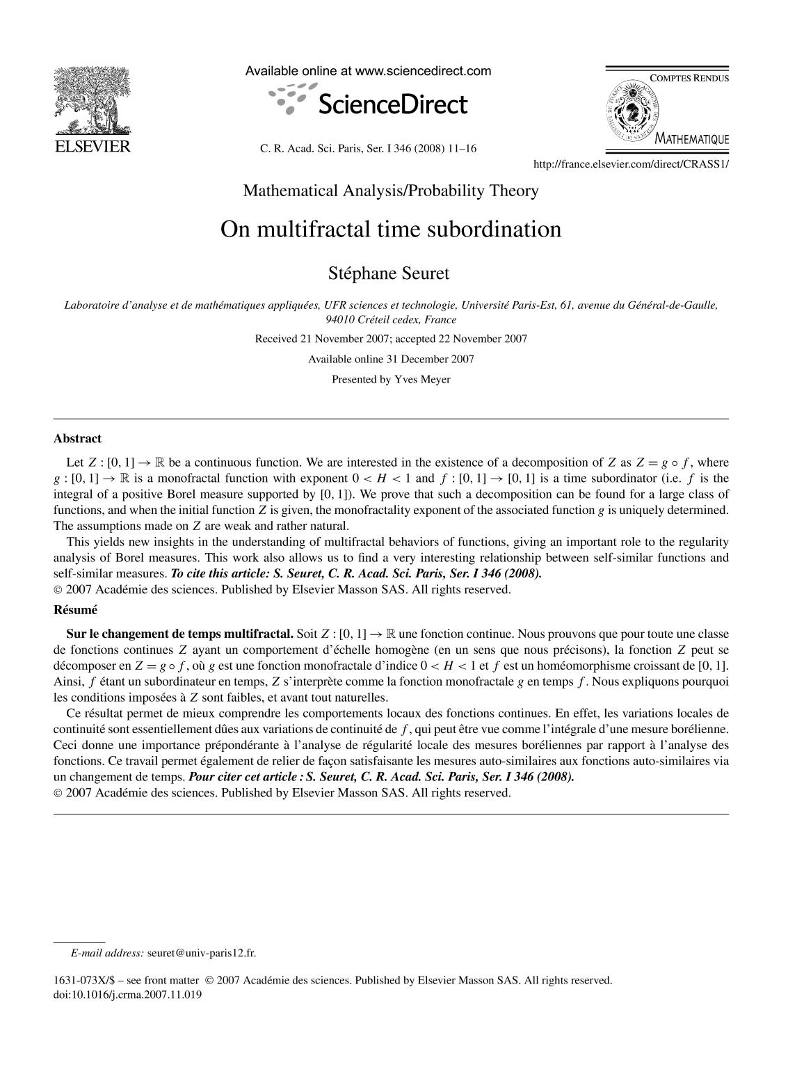 Couverture On multifractal time subordination