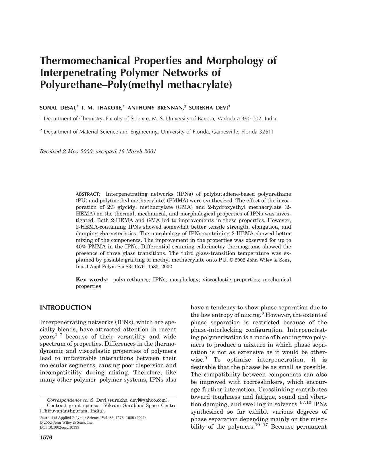 Book cover Thermomechanical properties and morphology of interpenetrating polymer networks of polyurethane–poly(methyl methacrylate)
