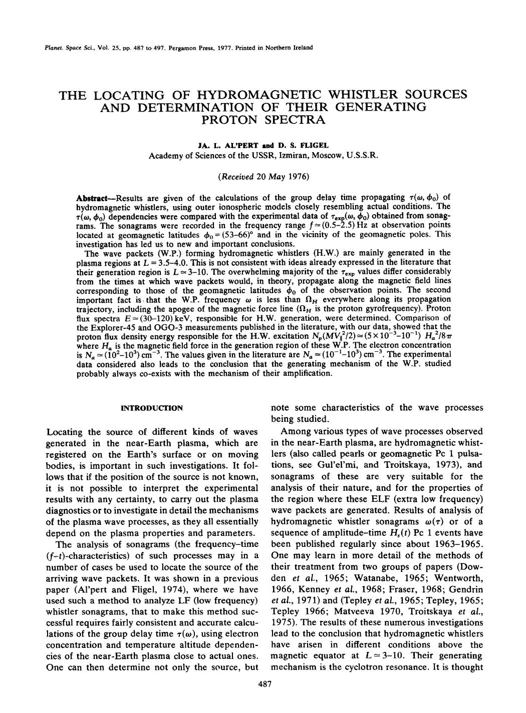 Book cover The locating of hydromagnetic whistler sources and determination of their generating proton spectra