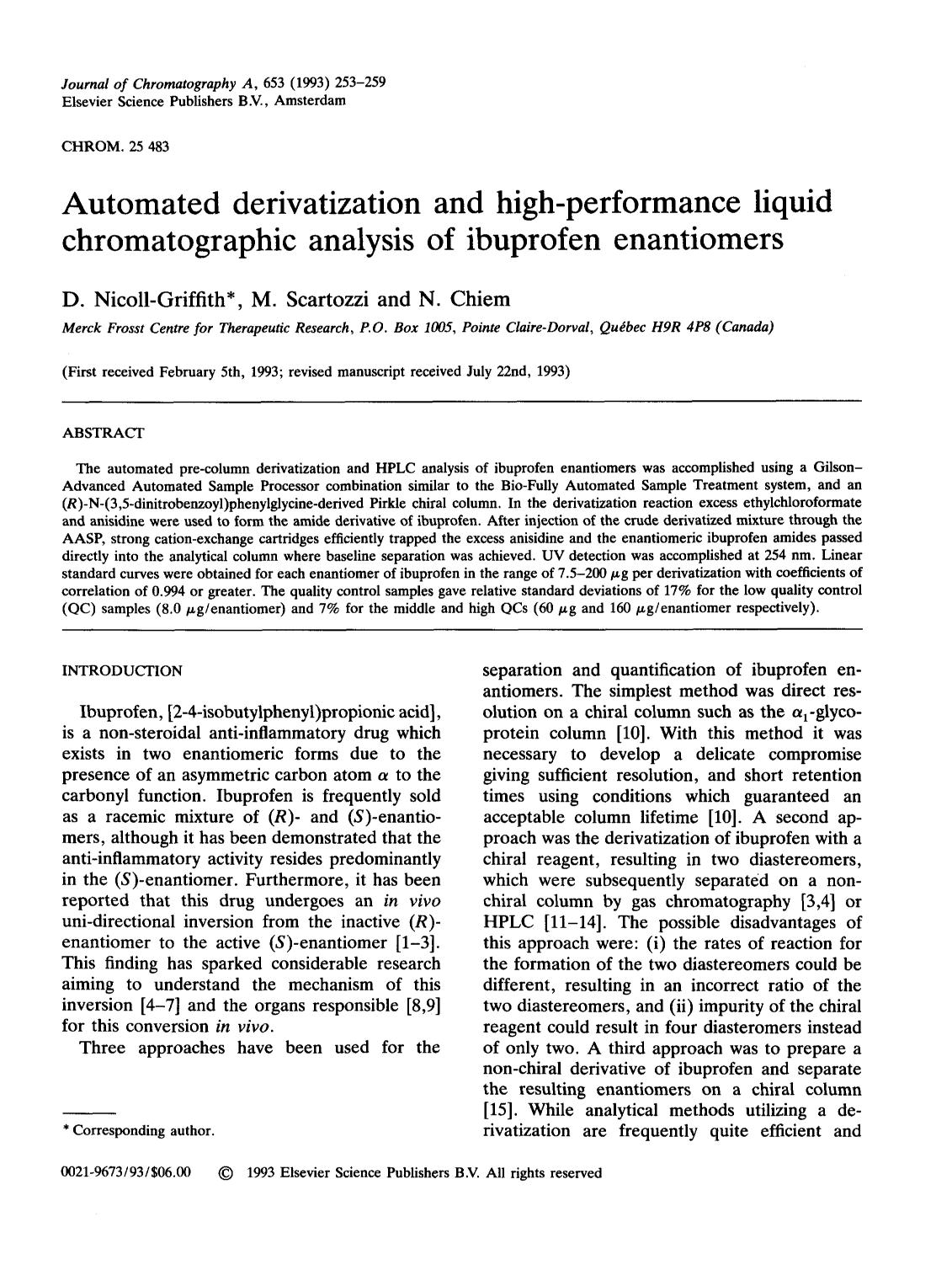 Book cover Automated derivatization and high-performance liquid chromatographic analysis of ibuprofen enantiomers