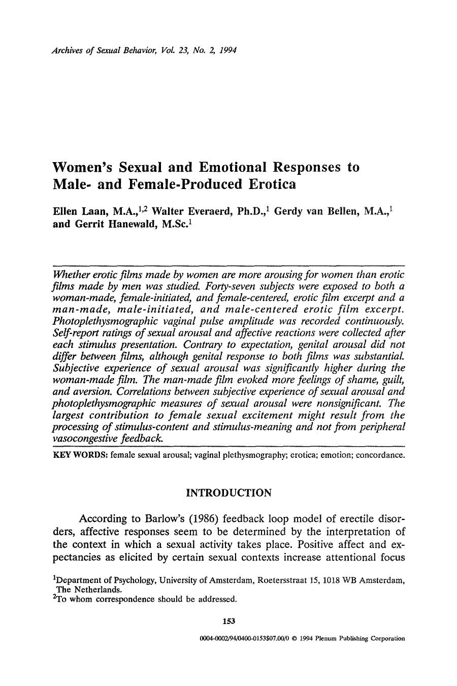 Book cover Women's sexual and emotional responses to male- and female-produced erotica