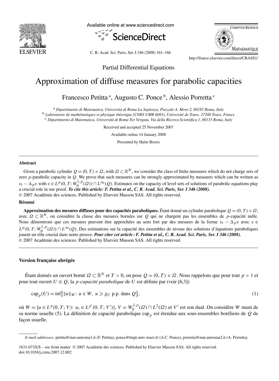 Book cover Approximation of diffuse measures for parabolic capacities