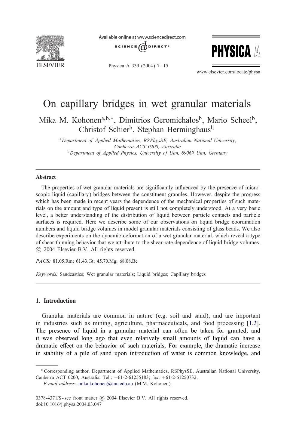 Book cover On capillary bridges in wet granular materials