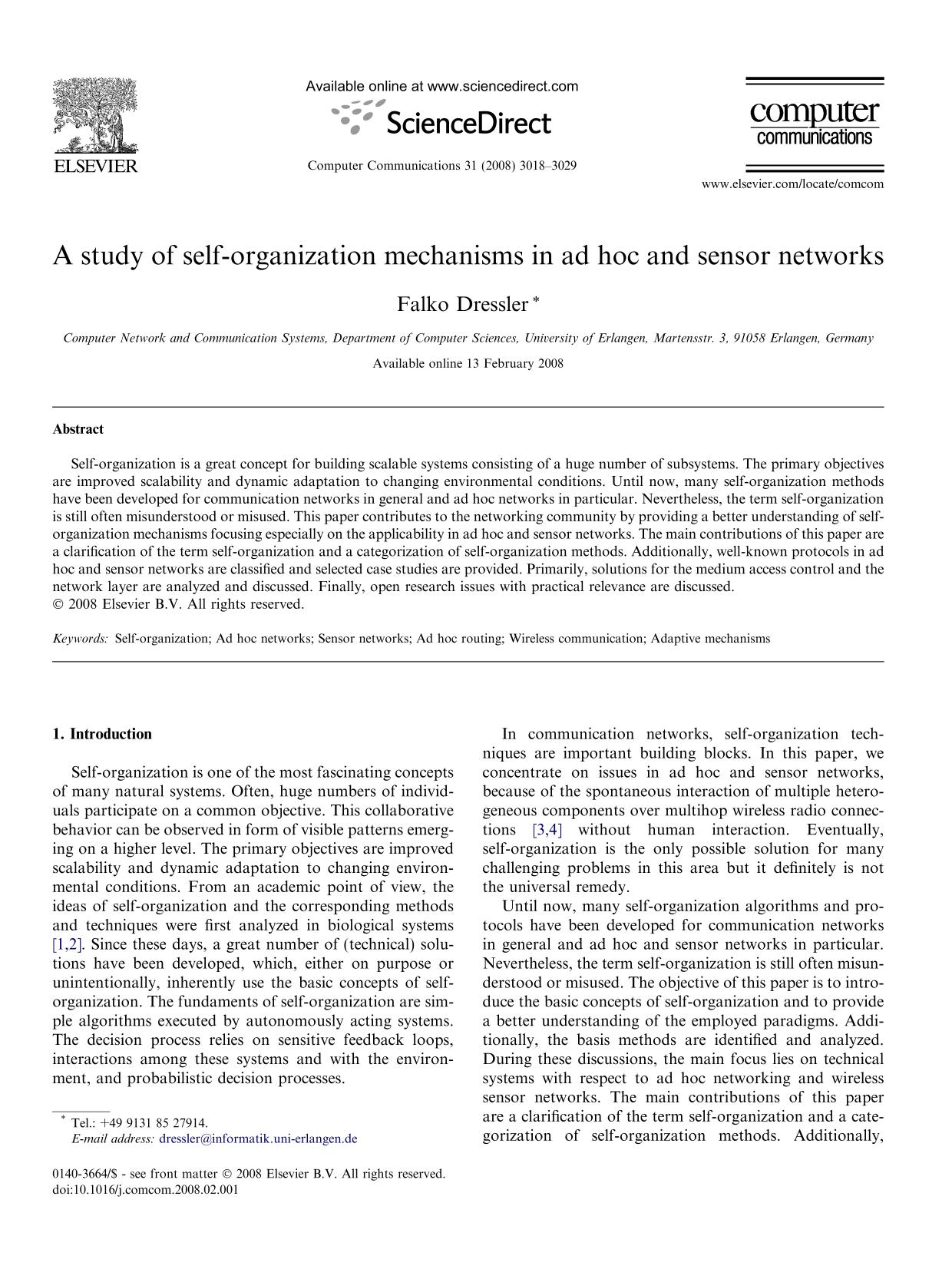 Couverture A study of self-organization mechanisms in ad hoc and sensor networks