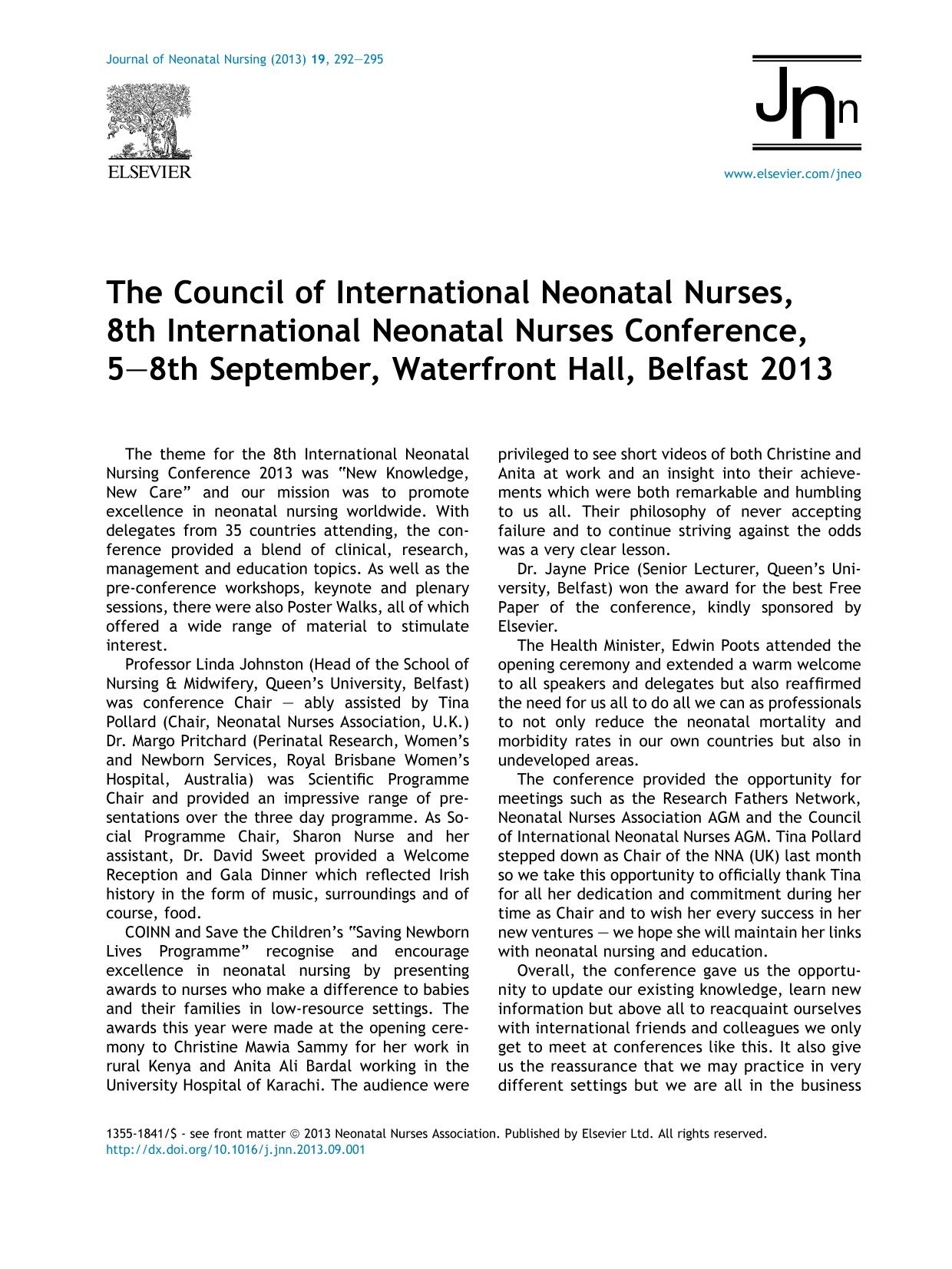 Book cover The Council of International Neonatal Nurses, 8th International Neonatal Nurses Conference, 5–8th September, Waterfront Hall, Belfast 2013