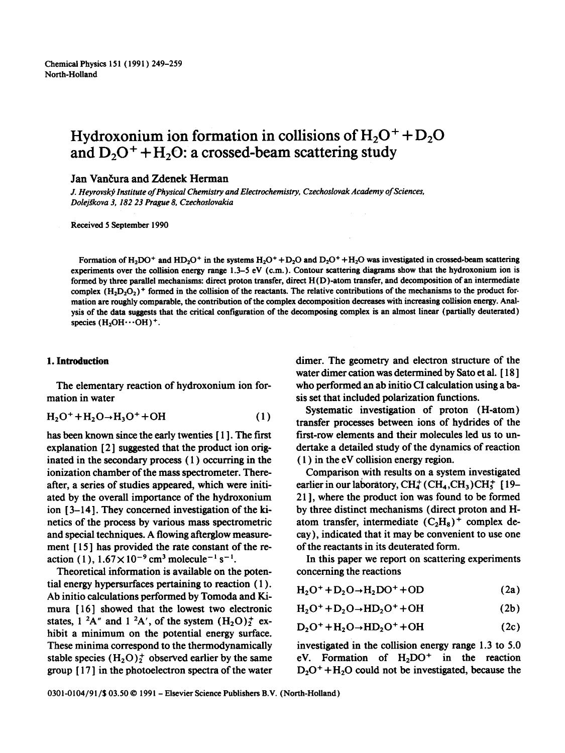 Kover buku Hydroxonium ion formation in collisions of H2O+ + D2O and D2O+ + H2O: a crossed-beam scattering study