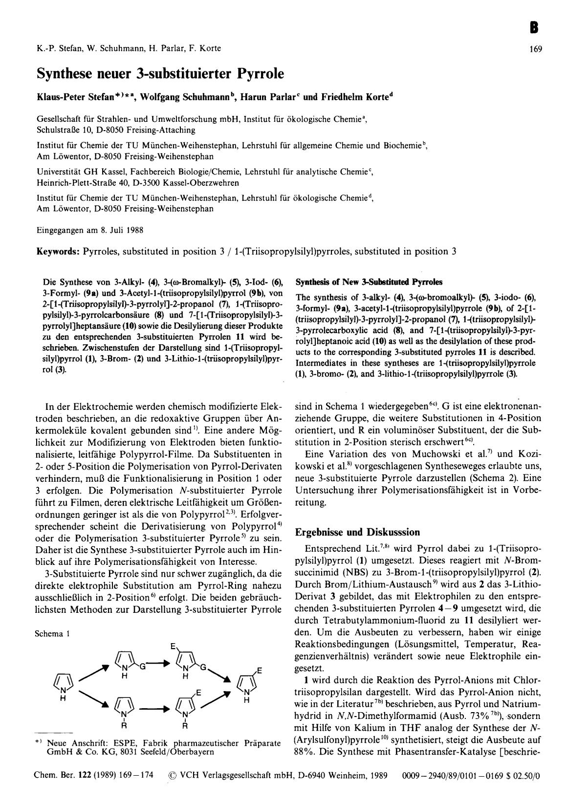 Book cover Synthese neuer 3-substituierter Pyrrole