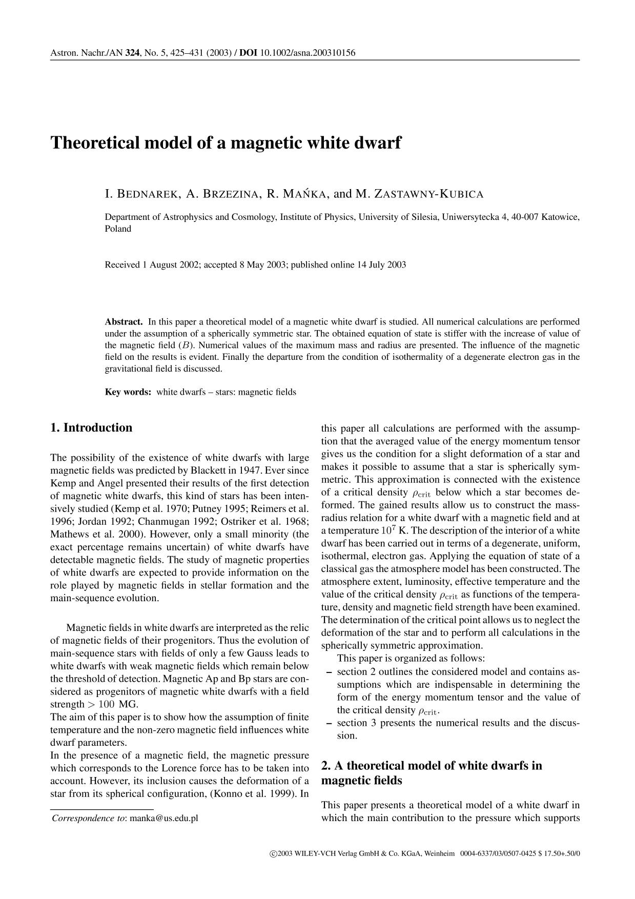 Book cover Theoretical model of a magnetic white dwarf