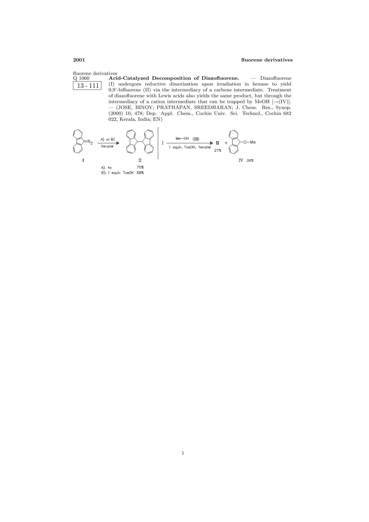 Book cover ChemInform Abstract: Acid-Catalyzed Decomposition of Diazofluorene.<span></span>