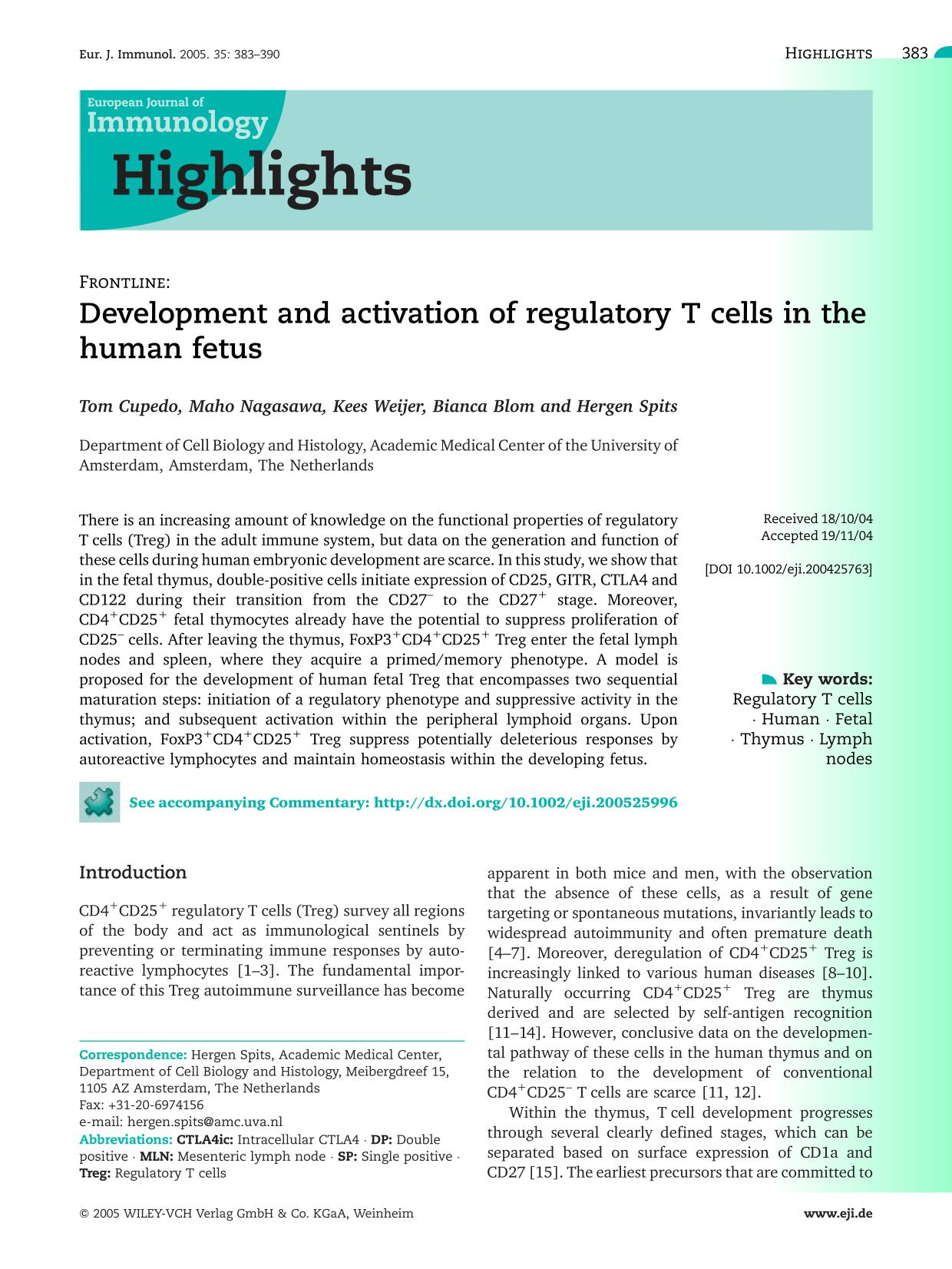Kover buku Development and activation of regulatory Tcells in the human fetus