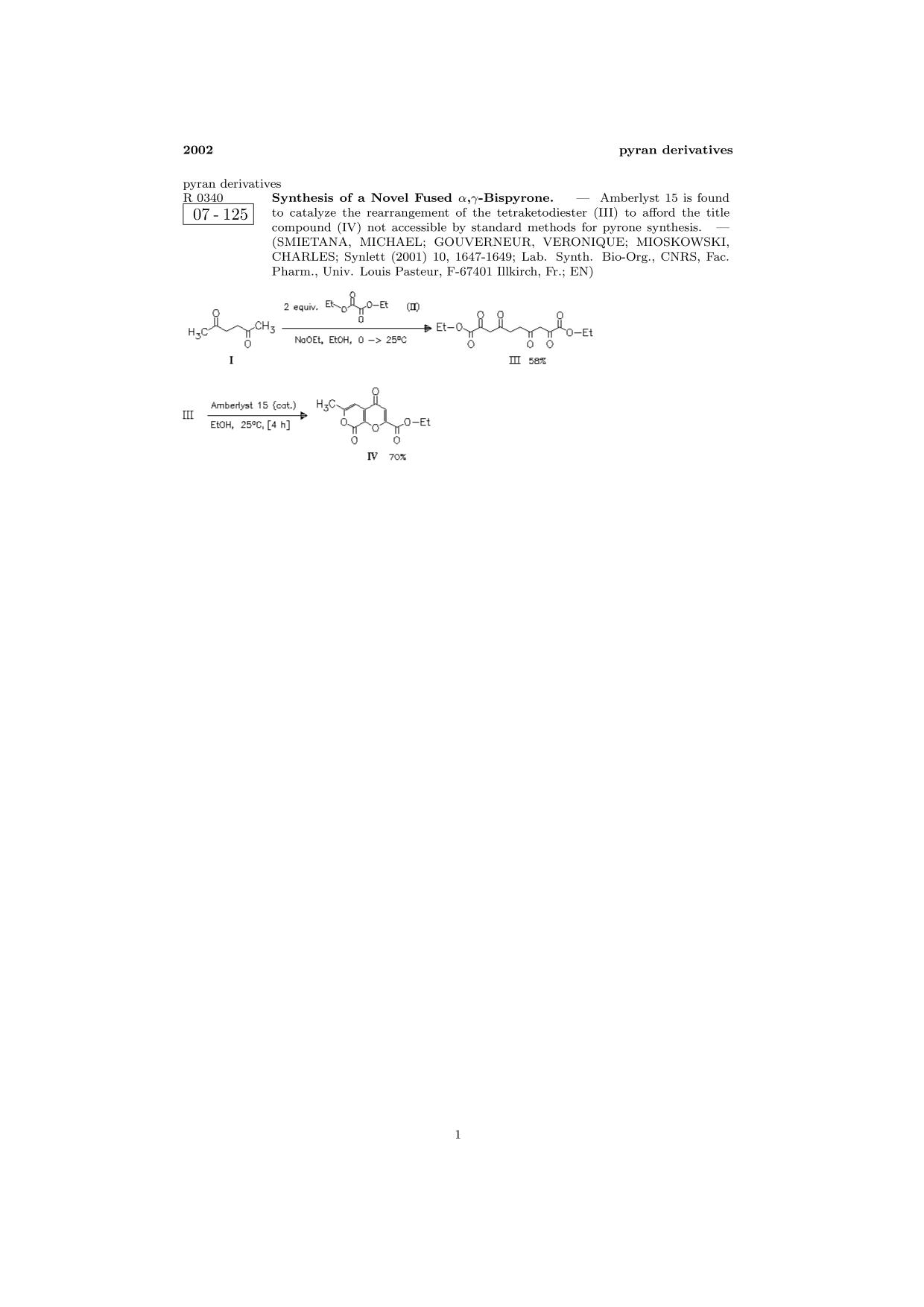 Copertina del libro ChemInform Abstract: Synthesis of a Novel Fused α,γ-Bispyrone.<span></span>
