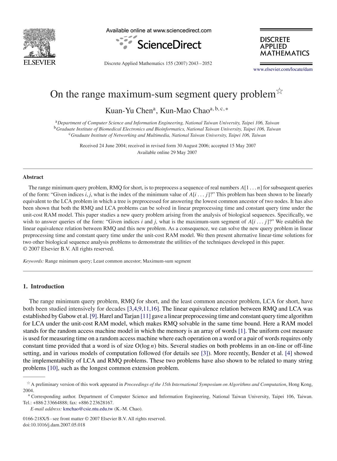 Book cover On the range maximum-sum segment query problem