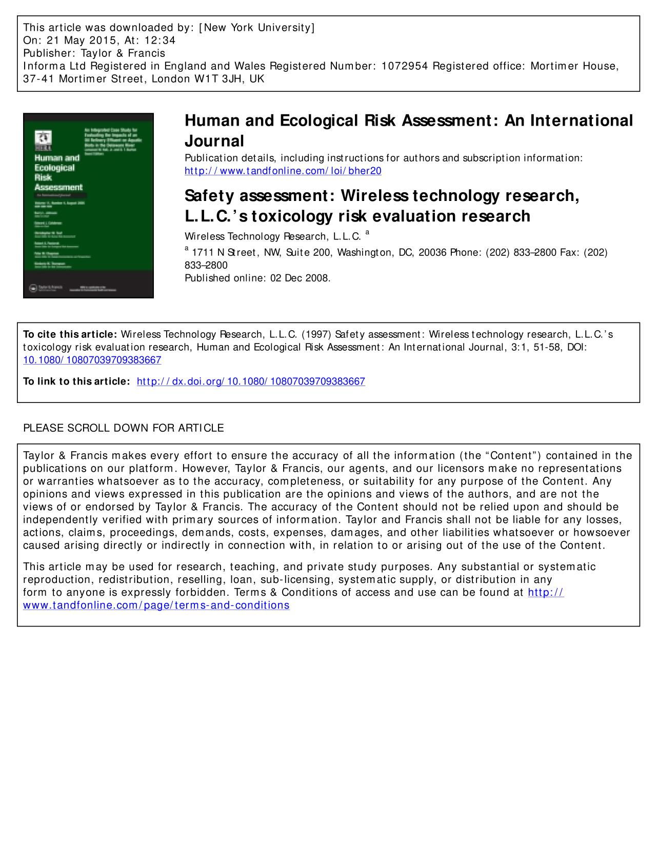 Book cover Safety assessment: Wireless technology research, L.L.C.'s toxicology risk evaluation research