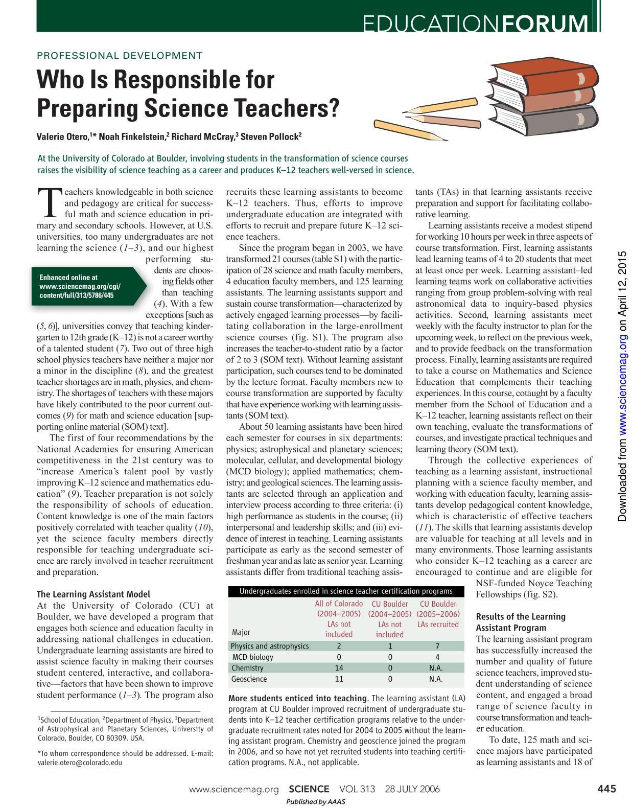 Book cover PROFESSIONAL DEVELOPMENT: Enhanced: Who Is Responsible for Preparing Science Teachers?