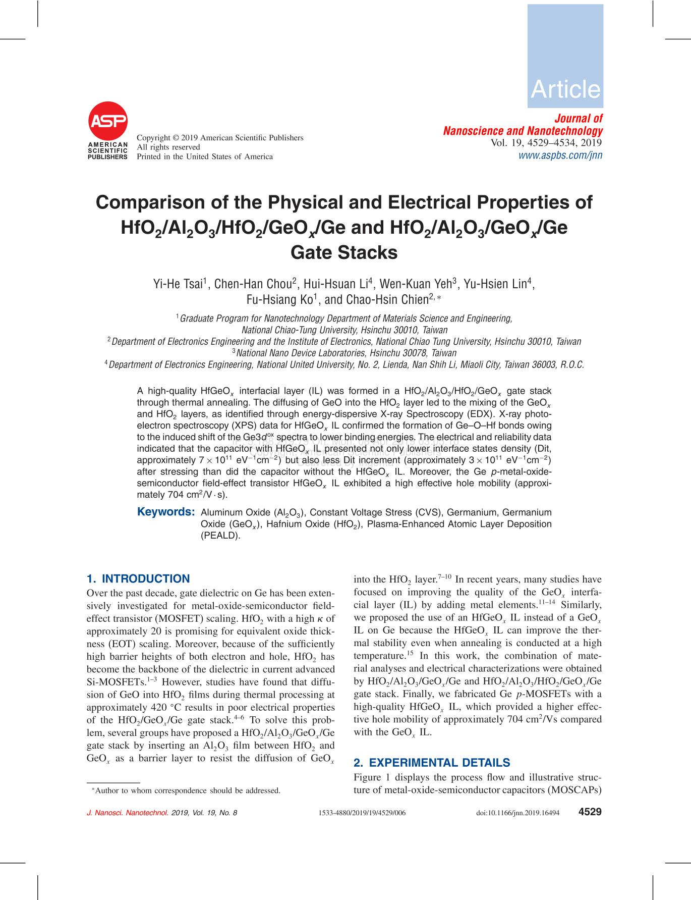 Book cover Comparison of the Physical and Electrical Properties of HfO