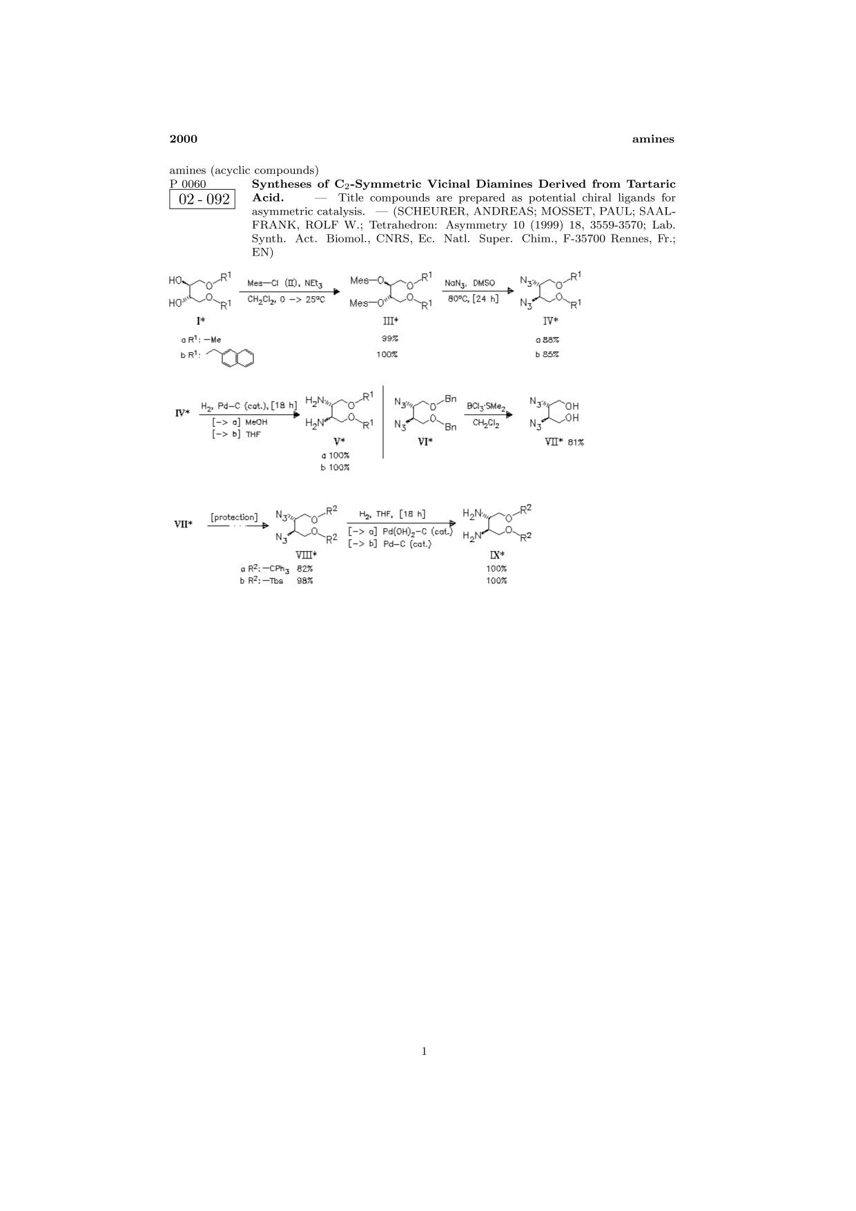 Kover buku ChemInform Abstract: Syntheses of C2-Symmetric Vicinal Diamines Derived from Tartaric Acid.<span></span>