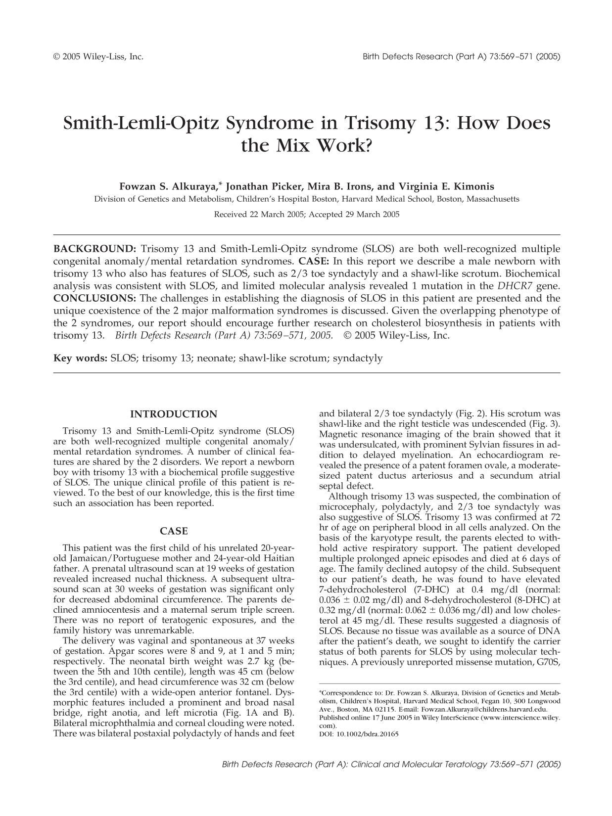 Book cover Smith-Lemli-Opitz syndrome in trisomy 13: How does the mix work?