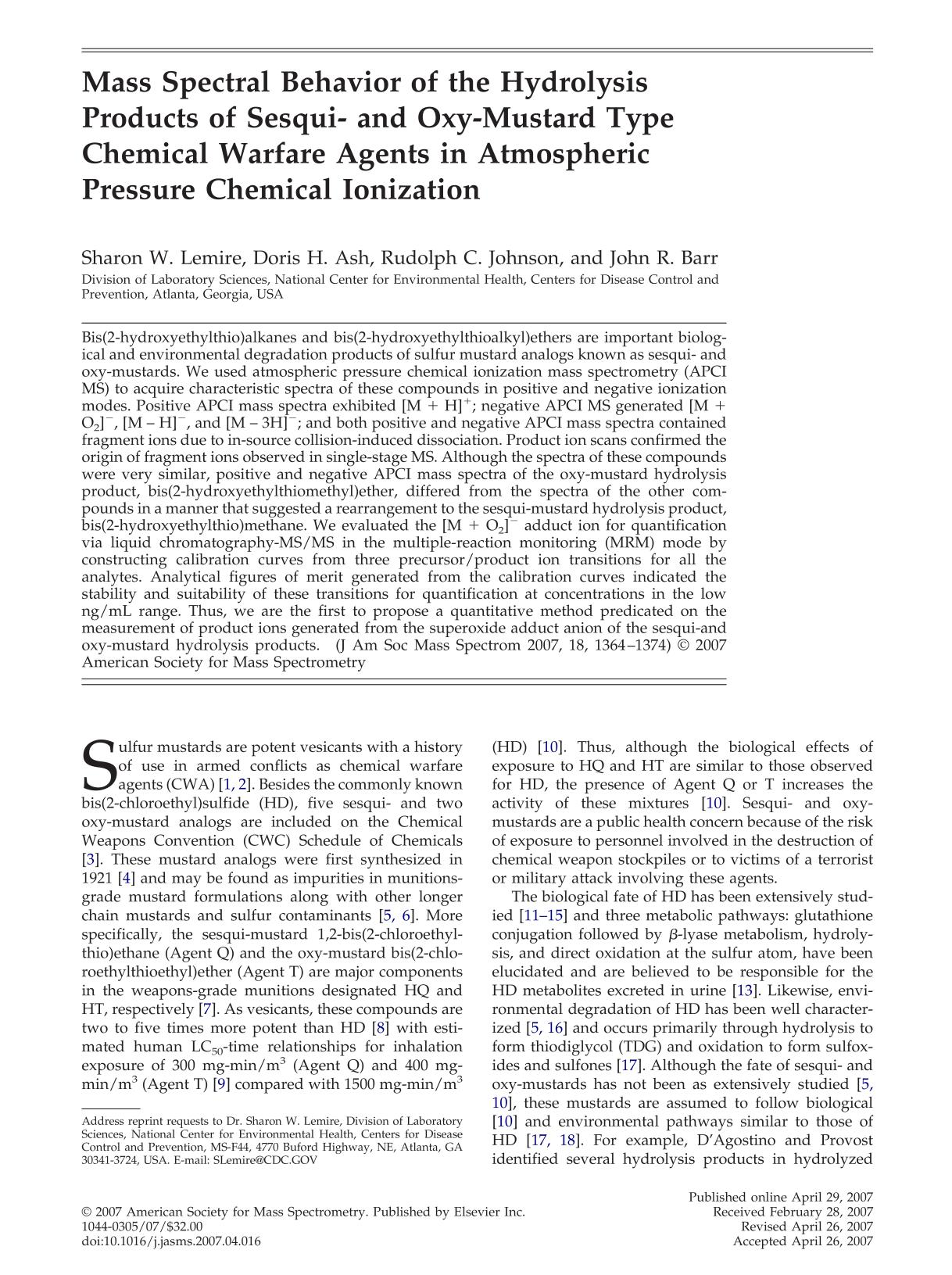 Book cover Mass Spectral Behavior of the Hydrolysis Products of Sesqui- and Oxy-Mustard Type Chemical Warfare Agents in Atmospheric Pressure Chemical Ionization