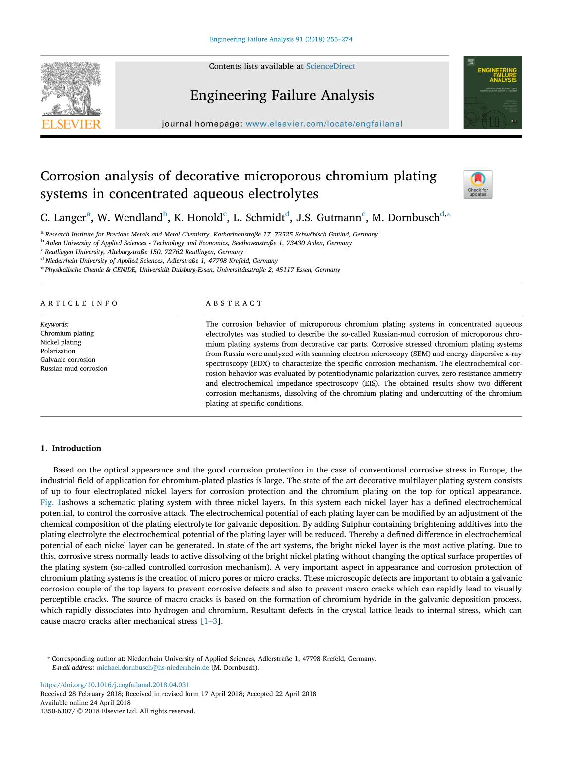 Copertina del libro Corrosion analysis of decorative microporous chromium plating systems in concentrated aqueous electrolytes
