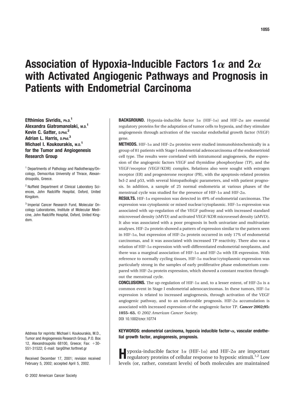 Book cover Association of hypoxia-inducible factors 1α and 2α with activated angiogenic pathways and prognosis in patients with endometrial carcinoma